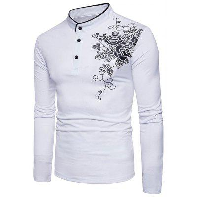 Mandarin Collar Half Button Floral Print TeeMens Long Sleeves Tees<br>Mandarin Collar Half Button Floral Print Tee<br><br>Collar: Mandarin Collar<br>Material: Cotton, Spandex<br>Package Contents: 1 x Tee<br>Pattern Type: Floral<br>Season: Fall, Spring<br>Sleeve Length: Full<br>Style: Casual<br>Weight: 0.3000kg