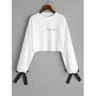 Buy WHITE S Tied Sleeve Letter Cropped Sweatshirt for $22.96 in GearBest store