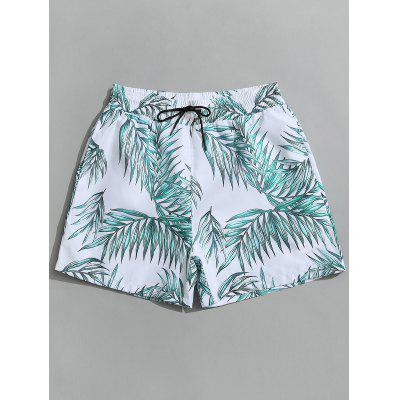 Leaf Print Swimming Board Shorts