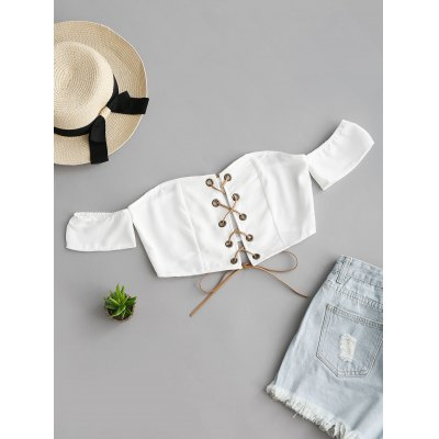 Buy WHITE S Off Shoulder Lace Up Cropped Top for $16.28 in GearBest store