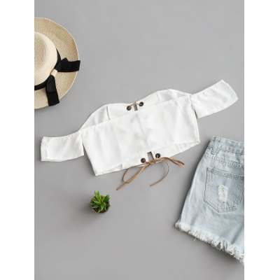 Off Shoulder Lace Up Cropped TopTees<br>Off Shoulder Lace Up Cropped Top<br><br>Collar: Off The Shoulder<br>Embellishment: Lace up<br>Material: Cotton, Polyester<br>Package Contents: 1 x Top<br>Pattern Type: Solid<br>Seasons: Summer<br>Shirt Length: Crop Top<br>Sleeve Length: Short<br>Style: Fashion<br>Weight: 0.1450kg