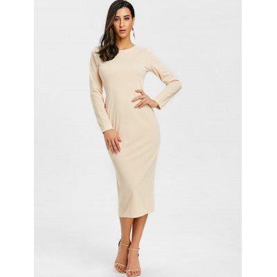 Long Sleeve Back Zipped Slit Bodycon DressWomens Dresses<br>Long Sleeve Back Zipped Slit Bodycon Dress<br><br>Dresses Length: Mid-Calf<br>Elasticity: Micro-elastic<br>Embellishment: Zippers<br>Material: Polyester, Spandex<br>Neckline: Round Collar<br>Occasion: Club, Casual, Night Out<br>Package Contents: 1 x Dress<br>Pattern Type: Solid Color<br>Season: Fall, Spring, Winter<br>Silhouette: Bodycon<br>Sleeve Length: Long Sleeves<br>Style: Brief<br>Weight: 0.4200kg<br>With Belt: No