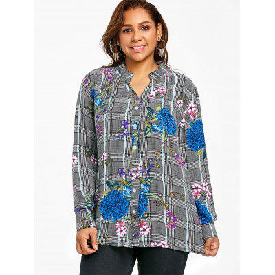 Plus Size Floral Print Plaid BlousePlus Size Tops<br>Plus Size Floral Print Plaid Blouse<br><br>Collar: V-Neck<br>Material: Polyester<br>Package Contents: 1 x Blouse<br>Pattern Type: Floral, Plaid<br>Season: Spring, Fall<br>Shirt Length: Long<br>Sleeve Length: Full<br>Style: Fashion<br>Weight: 0.2500kg