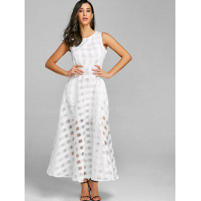 Sleeveless Fit and Flare Organza Maxi DressWomens Dresses<br>Sleeveless Fit and Flare Organza Maxi Dress<br><br>Dresses Length: Floor-Length<br>Material: Polyester<br>Neckline: Round Collar<br>Package Contents: 1 x Dress<br>Pattern Type: Geometric<br>Season: Fall, Spring, Summer<br>Silhouette: A-Line<br>Sleeve Length: Sleeveless<br>Style: Elegant<br>Weight: 0.3700kg<br>With Belt: No