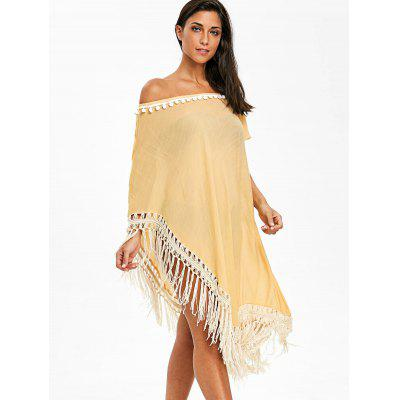 Pom Pom Asymmetric Fringed Cover Up DressLingerie &amp; Shapewear<br>Pom Pom Asymmetric Fringed Cover Up Dress<br><br>Cover-Up Type: Dress<br>Embellishment: Fringed<br>Gender: For Women<br>Material: Polyester<br>Neckline: Off The Shoulder<br>Package Contents: 1 x Dress<br>Pattern Type: Others<br>Weight: 0.2300kg