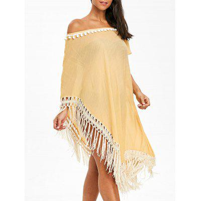 Pom Pom Asymmetric Fringed Cover Up Dress