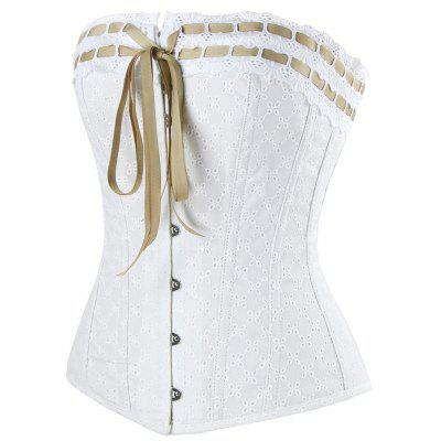Lace-up Steel Boned CorsetLingerie &amp; Shapewear<br>Lace-up Steel Boned Corset<br><br>Embellishment: Criss-Cross<br>Material: Cotton<br>Package Contents: 1 x Corset<br>Pattern Type: Others<br>Weight: 0.5400kg
