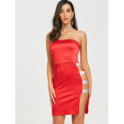 Side High Slit Bandeau Mini DressBodycon Dresses<br>Side High Slit Bandeau Mini Dress<br><br>Dresses Length: Mini<br>Embellishment: Sequined,Slit<br>Material: Polyester, Spandex<br>Neckline: Strapless<br>Package Contents: 1 x Dress<br>Pattern Type: Solid<br>Season: Fall, Spring, Summer<br>Silhouette: Bodycon<br>Sleeve Length: Sleeveless<br>Style: Sexy &amp; Club<br>Weight: 0.1600kg<br>With Belt: No
