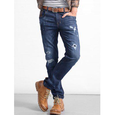 Zip Fly Straight Stitching Ripped Jeans ремень armani jeans ремень
