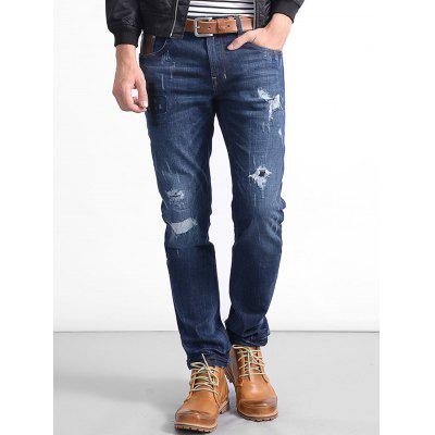 Zip Fly Straight Stitching Ripped Jeans pearl beaded ripped rolled hem jeans