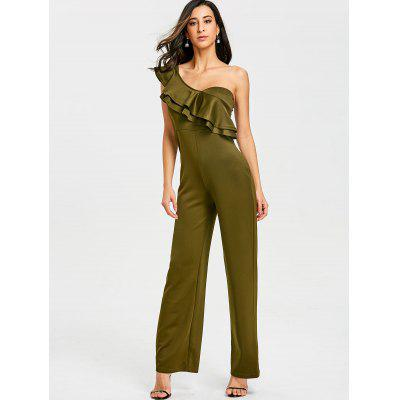One Shoulder Ruffle Wide Leg JumpsuitJumpsuits &amp; Rompers<br>One Shoulder Ruffle Wide Leg Jumpsuit<br><br>Embellishment: Ruffles<br>Fit Type: Loose<br>Material: Polyester<br>Package Contents: 1 x Jumpsuit<br>Pattern Type: Solid<br>Season: Summer<br>Style: Fashion<br>Weight: 0.4600kg<br>With Belt: No