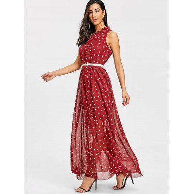 Polka Dot Overlay Sheer Maxi DressWomens Dresses<br>Polka Dot Overlay Sheer Maxi Dress<br><br>Dresses Length: Floor-Length<br>Material: Polyester<br>Neckline: Ruffled<br>Package Contents: 1 x Dress<br>Pattern Type: Polka Dot<br>Season: Fall, Spring<br>Silhouette: A-Line<br>Sleeve Length: Sleeveless<br>Style: Brief<br>Weight: 0.3800kg<br>With Belt: No