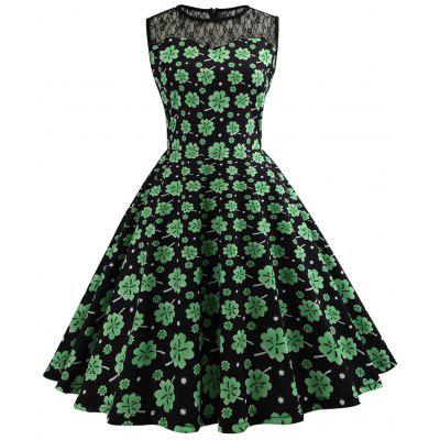 Retro Lace Panel Leaf Print Dress