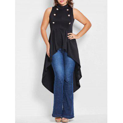 Plus Size Double Breast Gothic High Low Top