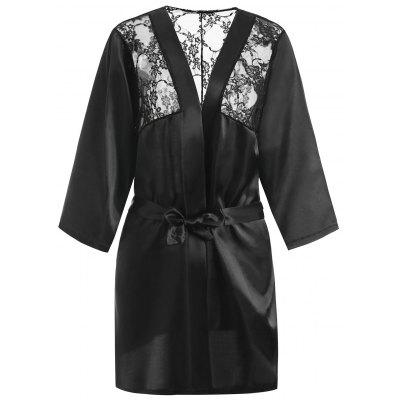 Lace Panel Plus Size Wrap Robe Lingerie