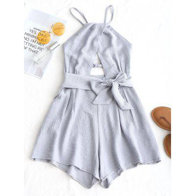 Criss Cross Backless Romper with Belt