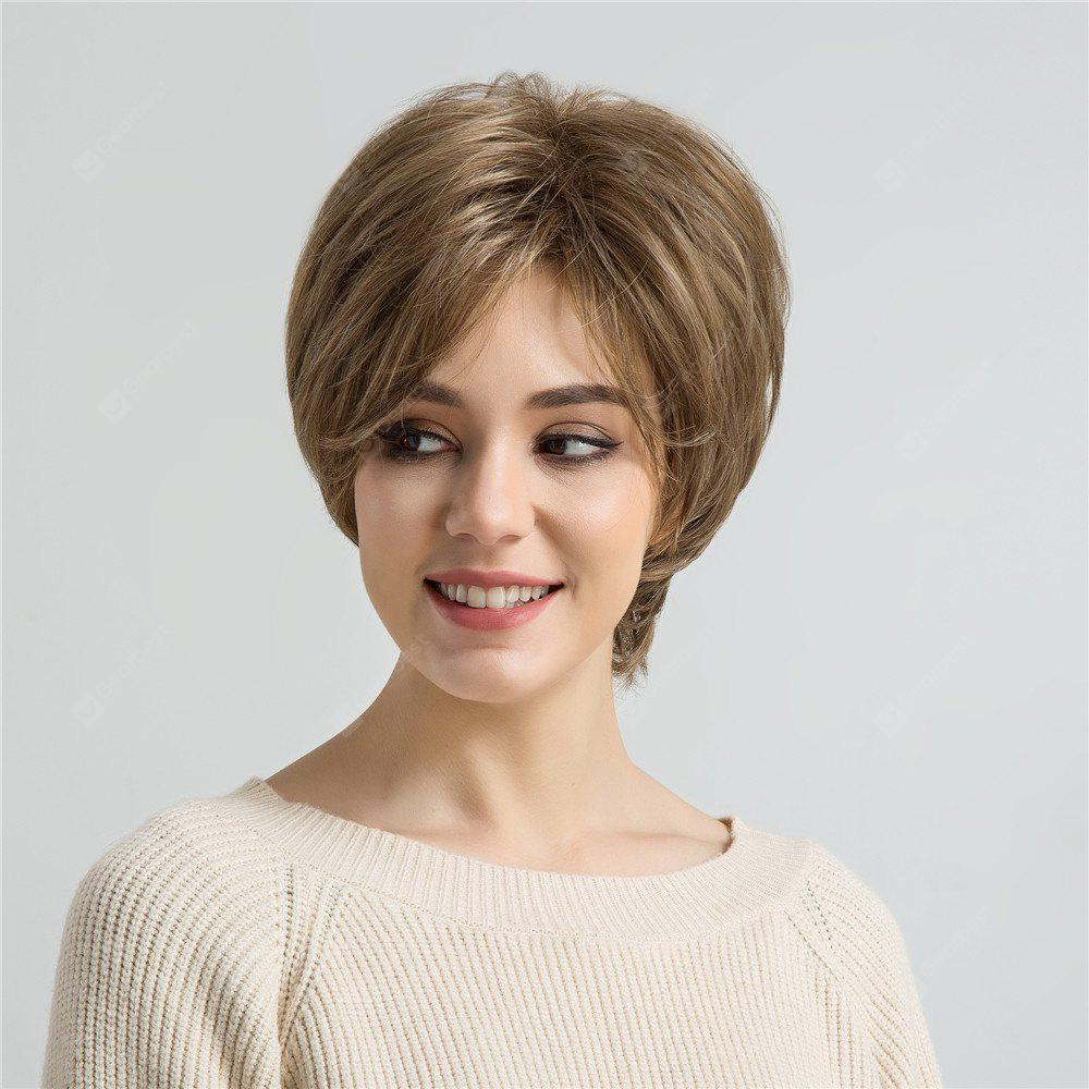 Short Oblique Bang Layered Fluffy Straight Synthetic Wig
