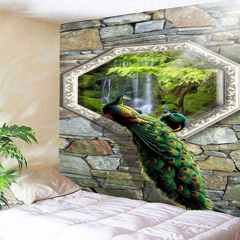 Peacock Waterfall Stone Wall Hanging Tapestry