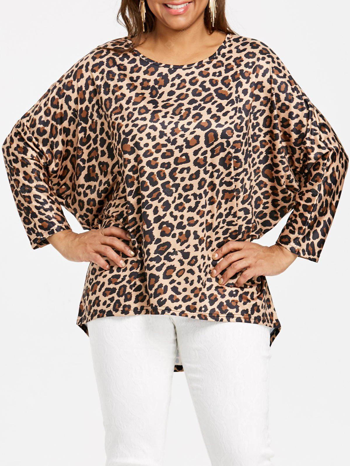 Plus Size High Low Leopard Dolman Sleeve Top