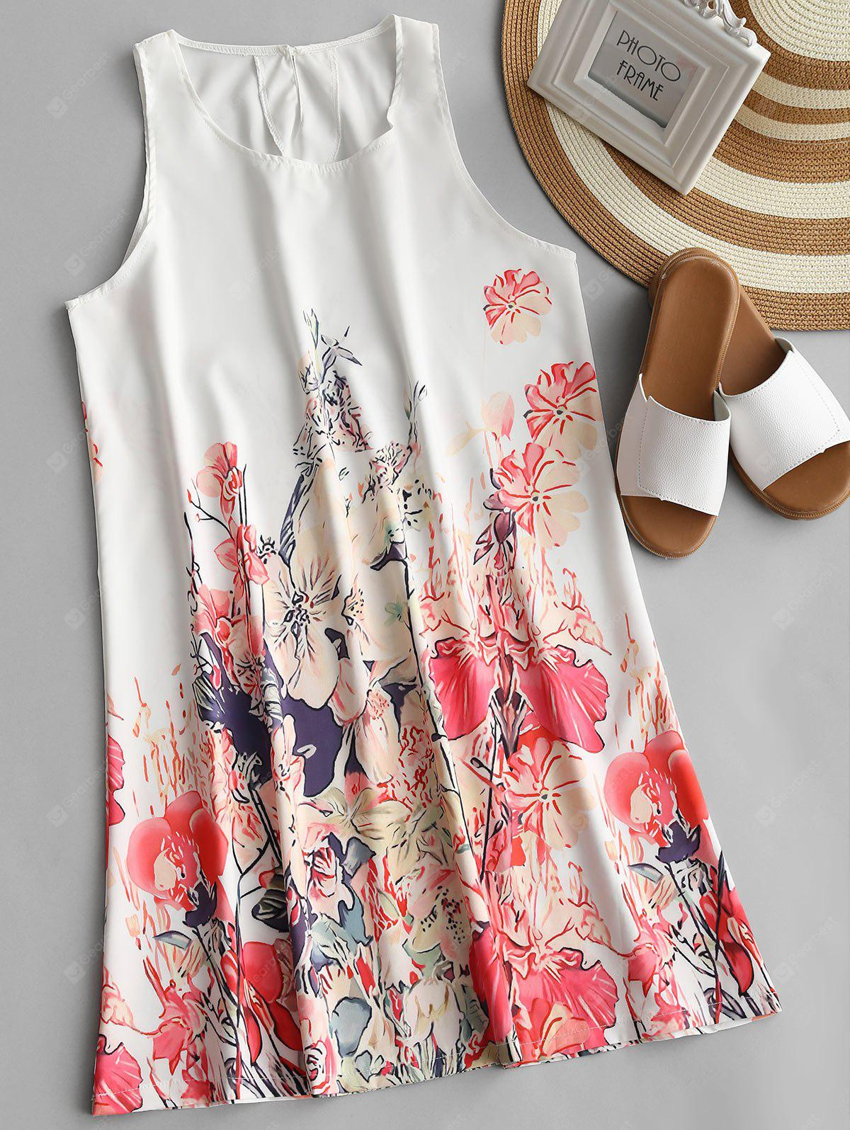U Neck Flower Print Sleeveless Dress