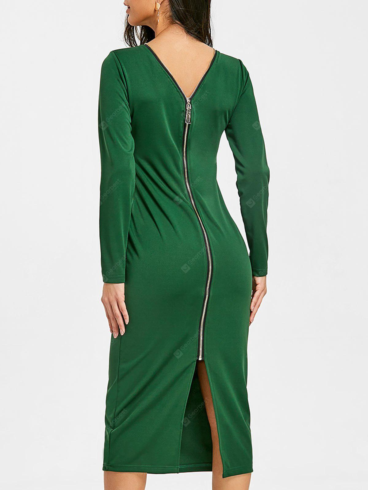 Long Sleeve Back Zipped Slit Bodycon Dress