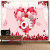 Valentine's Day Love Heart Print Wall Art Tapestry - PINK