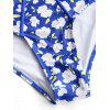 Plus Size Floral Piping Cut Out Swimwear - BLUE