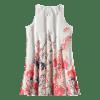 U Neck Flower Print Sleeveless Dress - FLORAL