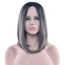 Medium Center Parting Ombre Tail Adduction Straight Bob Synthetic Wig