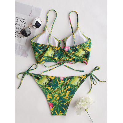 Jungle Leaves Print Tie Side Bikini SetLingerie &amp; Shapewear<br>Jungle Leaves Print Tie Side Bikini Set<br><br>Bra Style: Padded<br>Elasticity: Elastic<br>Gender: For Women<br>Material: Nylon, Spandex<br>Neckline: Spaghetti Straps<br>Package Contents: 1 x Bra  1 x Briefs<br>Pattern Type: Print<br>Style: Sexy<br>Support Type: Wire Free<br>Swimwear Type: Bikini<br>Waist: Low Waisted<br>Weight: 0.1800kg