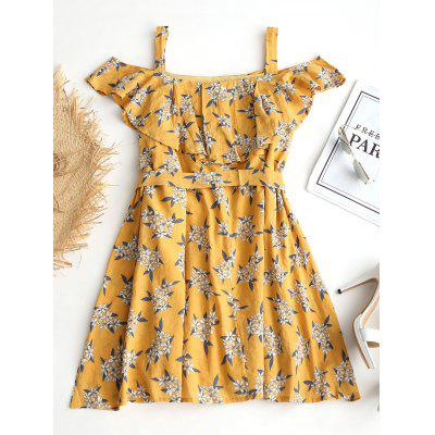 Ruffled Cold Shoulder Floral Belted DressWomens Dresses<br>Ruffled Cold Shoulder Floral Belted Dress<br><br>Dresses Length: Mini<br>Embellishment: Ruffles<br>Material: Polyester<br>Neckline: Square Collar<br>Occasion: Casual, Going Out<br>Package Contents: 1 x Dress  1 x Belt<br>Pattern Type: Floral<br>Season: Summer, Spring<br>Silhouette: A-Line<br>Sleeve Length: Short Sleeves<br>Style: Casual<br>Weight: 0.2900kg<br>With Belt: Yes