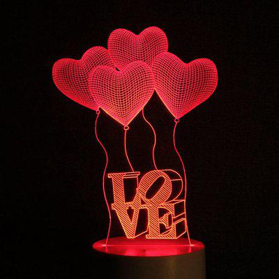 Mother's Day 3D Heart Balloon Love Letter USB Charging LED Touch Night Light