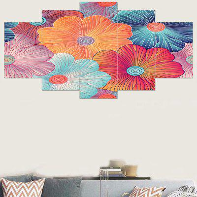 5Pcs Colorful Lotus Pattern Printed Wall Art Stickers