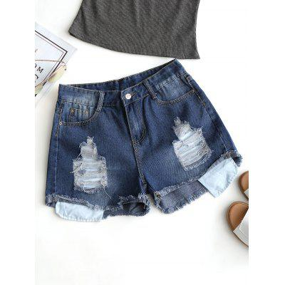 Frayed Hem Ripped Jean Shorts