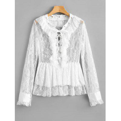 Lace Up Ruffled Sheer Lace Blouse