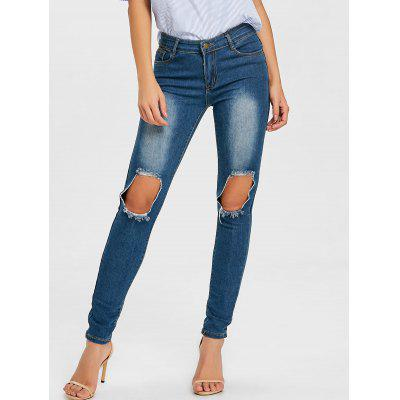 Buy Knee Ripped Skinny Jeans CERULEAN L for $33.23 in GearBest store
