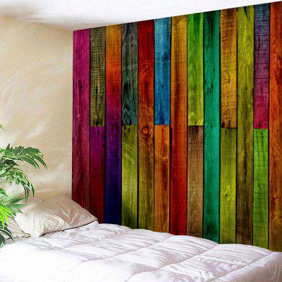 Colorful Wood Plank Print Wall Hanging Tapestry