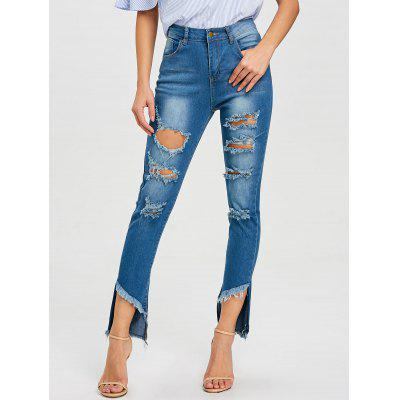 High Waisted Ripped Frayed Jeans