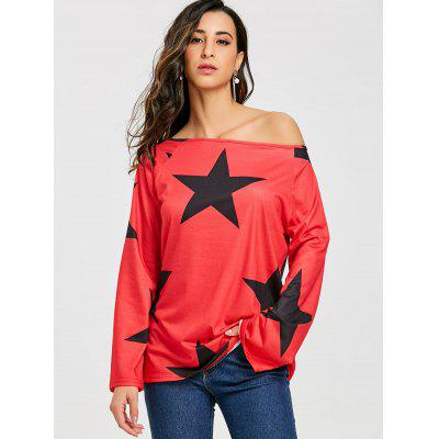 Skew Neck Star Print Tunic T-shirtBlouses<br>Skew Neck Star Print Tunic T-shirt<br><br>Collar: Skew Collar<br>Material: Polyester, Spandex<br>Package Contents: 1 x T-shirt<br>Pattern Type: Star<br>Season: Fall, Spring<br>Shirt Length: Regular<br>Sleeve Length: Full<br>Style: Casual<br>Weight: 0.3000kg