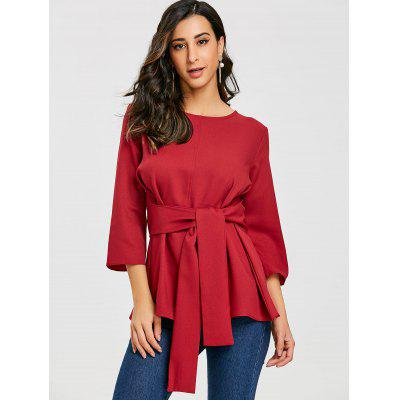 Belted Tunic Blouse with Back KeyholeBlouses<br>Belted Tunic Blouse with Back Keyhole<br><br>Collar: Round Neck<br>Material: Polyester<br>Package Contents: 1 x Blouse<br>Pattern Type: Solid<br>Season: Fall, Spring<br>Shirt Length: Regular<br>Sleeve Length: Three Quarter<br>Style: Fashion<br>Weight: 0.2450kg