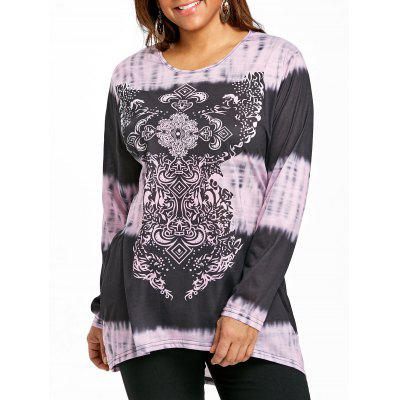 Plus Size High Low Ombre T-shirt