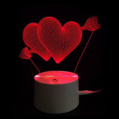 Valentine's Day Gift Arrow through Double Hearts Touch Switch LED Night Light