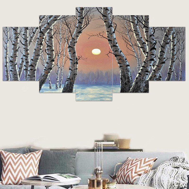 Birch Forest Morning Light Printed Canvas Wall Art Paintings