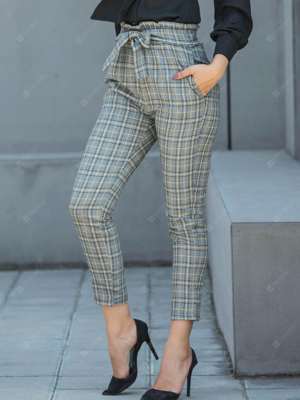 Plaid Pencil Pants with Belt