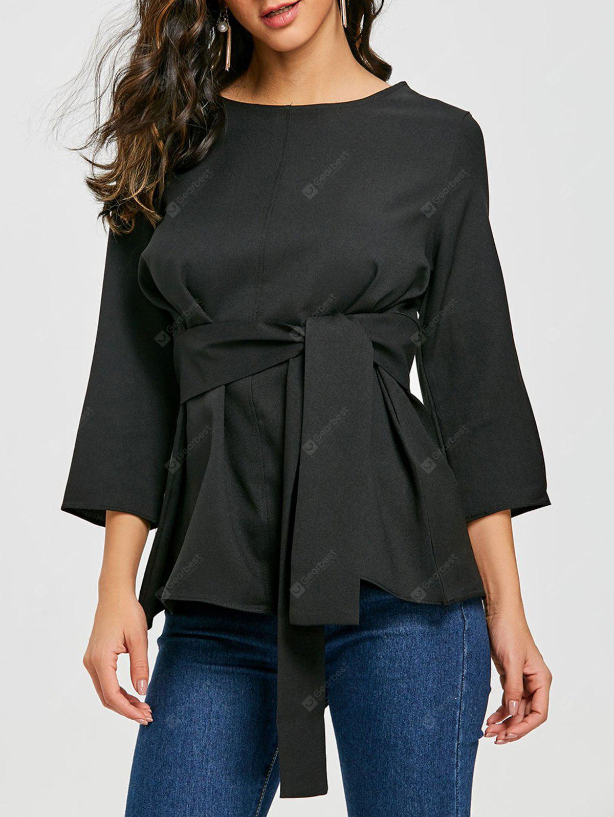 Belted Tunic Blouse with Back Keyhole
