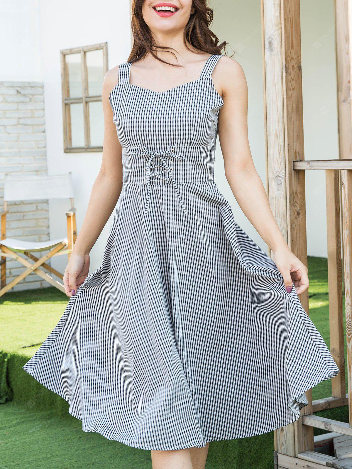 Lace Up Gingham Sweetheart Neck Dress