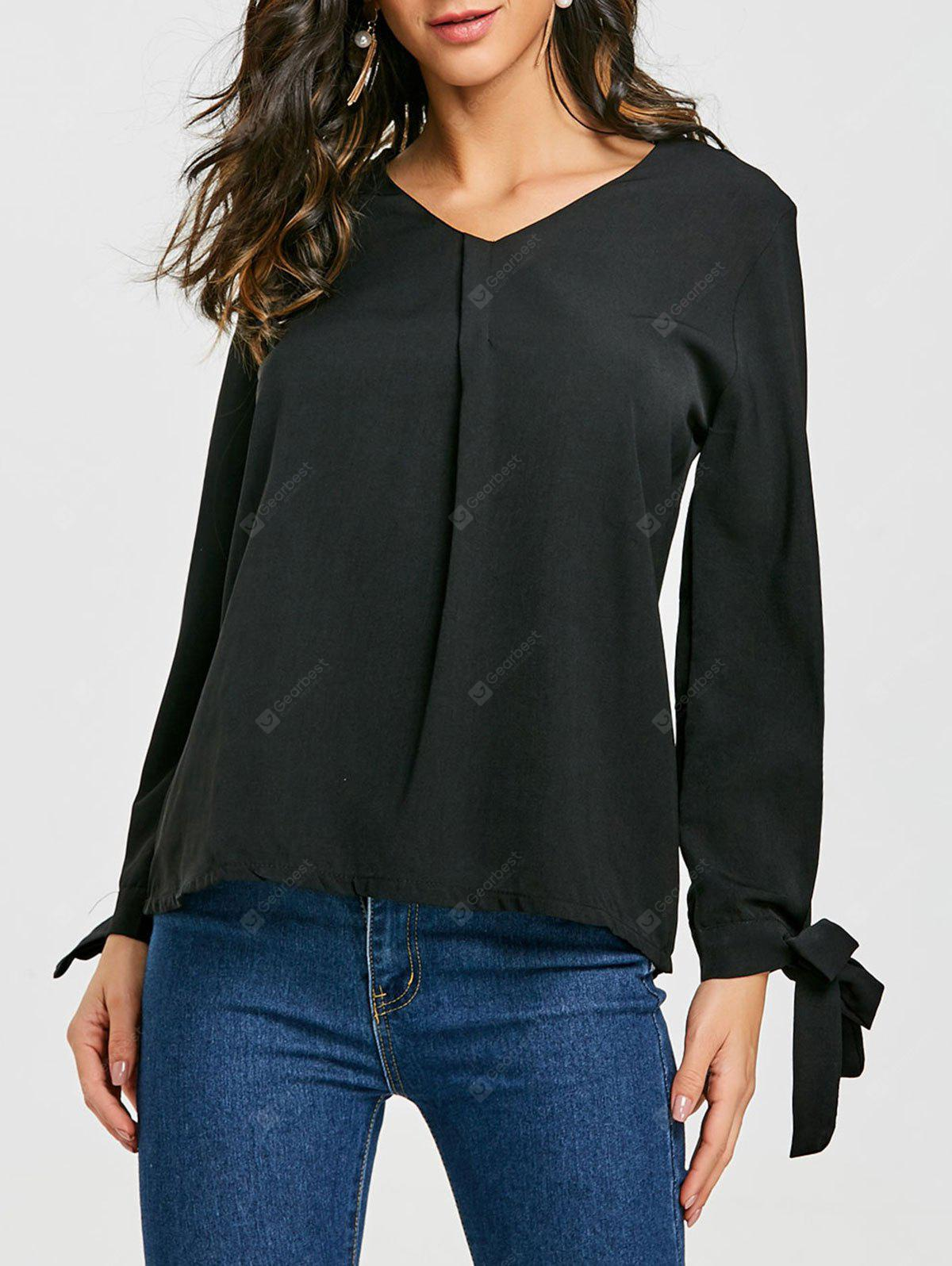 Chiffon Blouse with Bow Tie Cuff