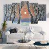 Birch Forest Morning Light Printed Canvas Wall Art Paintings - GRAY