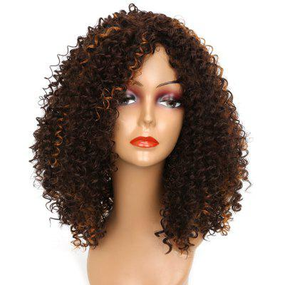 Medium Colormix Side Bang Shaggy Kinky Curly Synthetic Wig