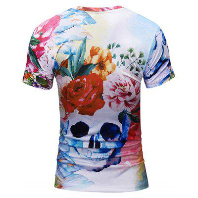 Crew Neck Floral Skull Print TeeMens Short Sleeve Tees<br>Crew Neck Floral Skull Print Tee<br><br>Collar: Crew Neck<br>Material: Polyester<br>Package Contents: 1 x Tee<br>Pattern Type: Floral, Skulls<br>Sleeve Length: Short<br>Style: Casual<br>Weight: 0.2700kg
